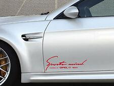 2 x Opel Sports Mind Aufkleber XL Astra Corsa Insignia Calibra Emblem Logo Rot