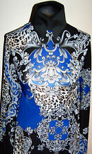 Royal Blue Black Gray and Cream Animal Print Lycra Stretch Fabric By The Yard