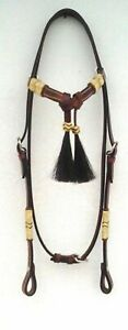 Horse Hair Light Western Leather Headstall Rawhide Futurity Knot Browband Tack 5