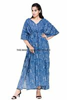 Anokhi Boho Beach Indian Fish Print Cotton Festival Caftan Maxi Dress Plus size