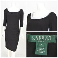 Womens Lauren Ralph Lauren Dress Black LRL Stretch Half Sleeve Size US8 / UK12