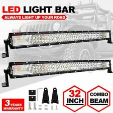 32INCH CREE LED Light Bar 408W Driving Offroad Flood Spot Combo Beam SUV 4WD 30