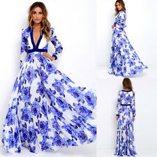 Blue Plus Size Women Summer Floral Dress Maxi Long Evening Party Cocktail Beach