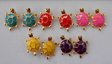 Lovely Little Studs Earrings Gold Plated Turtle Tortoise in 5 Colours Stoppers Red