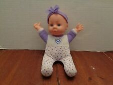 """2017 9"""" Uneeda Soft Body Vinyl Head Baby Doll Dressed In Purple Outfet"""