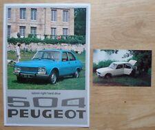 PEUGEOT 504 GL & TI SALOONS 1976 UK Mkt Sales Leaflet Brochure + Photo