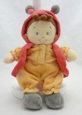Nicotoy Doudou bébé coccinelle velours jaune et rouge  27 cm