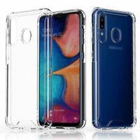 For Samsung Galaxy A20 A30 A50 Phone Case Clear Hard TPU Bumper +Tempered Glass