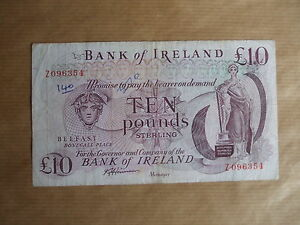 BANK  OF  IRELAND £10  NOTE, 1985. PREFIX  Z,  REPLACEMENT