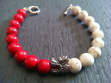 Red White Turquoise Stone Dragon Head Toggle Clasp Baby Chrome King Bracelet