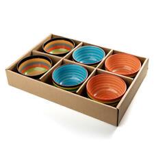 LIVINGbasics® 6 Kitchen Ceramic Bowls Assorted Colors for Cereal, Fruit, Dessert