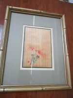 JAPANESE WATERCOLOR ON WOOD MATTE IN SILK BAMBOO FRAME [*ART]