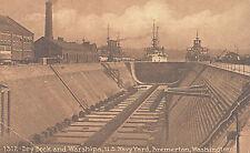 VIntage Postcard-Dry Dock anf Warships, U.S. Navy Yard, Bremerton, WA