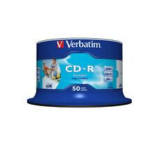 50 Verbatim CD-R 80 Blanco Imprimible 700 MB 52X 80 Min 43438 Eje