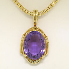 Large 14K Yellow Gold 16.0ct Oval Amethyst Pendant w/ Cylinder Basket Link Chain