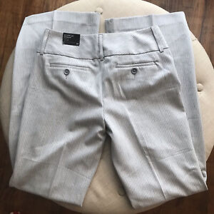 NWT Express Editor Wide Waistband in Gray Pinstripe Studio Stretch Flare Pant 2R