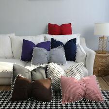 Bow Cotton Sofa Waist Throw Pillow Cushion Pompom Couch Car Home Office Decor