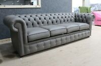 CHESTERFIELD TUFTED BUTTONED 4 SEATER SOFA GRANDE SILVER BIRCH GREY LEATHER DBB