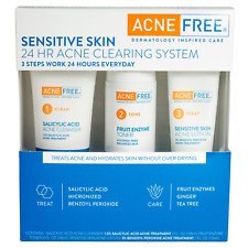 AcneFree Sensitive Skin 3-Steps 24 Hour Acne Clearing System Face Treatment Kit