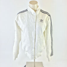 Adidas Adicolor 3 Stripes Paisley Jacket Button Up Polyester White Womens XS
