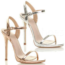 WOMENS LADIES VERY HIGH HEEL BUCKLE STRAPPY METALLIC BARELY THERE SANDALS SIZE