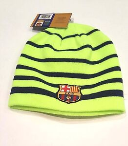 FC Barcelona Official Fitted Beanie Winter Hat Cap New W/Tags K1E32 Blue Stripes