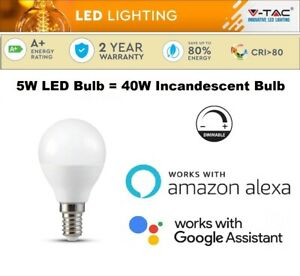 RGBW LED E14 Smart Light Bulb 5W Color Changing Works With Alexa & Google