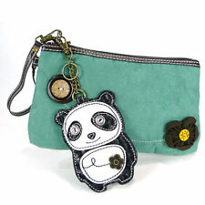 Chala Panda Bear Purse Clutch Teal Suede Leather Credit Cards Coin Key Chain