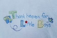 Just Born Baby Blanket Thank Heaven for Little Boys Airplanes Christian White