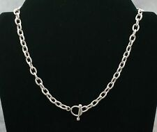 """Sterling Silver CABLE CHAIN LINK TOGGLE NECKLACE 18"""" - 39.5 grams"""