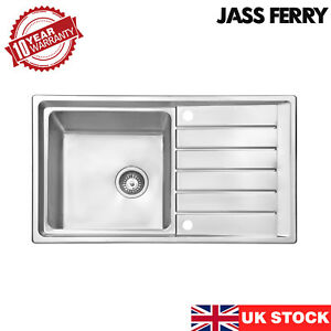 JASSFERRY New Stainless Steel Kitchen Sink Single Bowl Inset Reversible Drainer