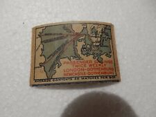 VINTAGE SHIPPING MATCHBOX  LABEL  LOOSE  SWEDISH ROUTES  ON WOOD