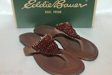 13965d87199 EDDIE BAUER Dark Brown Leather Bead Flip Flop Sandals Sz 7