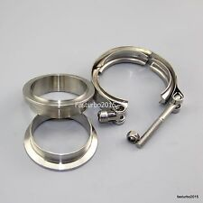"""2.5""""  V-band Clamp 2 Flange Turbo Assembly Exhuast Downpipe Stainless Steel #304"""