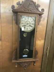 "OLD ANTIQUE WATERBURY "" ALTON "" TIME STRIKE OAK WALL REGULATOR PARLOR  CLOCK"