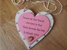 Best Friend wood hanging heart sign plaque gift shabby chic pink