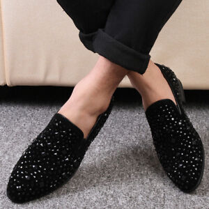 Mens Nightclub Leisure Leather Shoes Rhinestone Slip on Pointy Toe Loafers Party