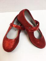 New Angel Children's Girl's Red Sequin Metallic Glitter Strap Dorothy Shoes