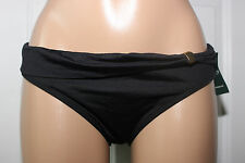 NEW Ralph Lauren LR6GB96 Black Solid Sash Swimwear Hipster Bikini Bottom sz 12