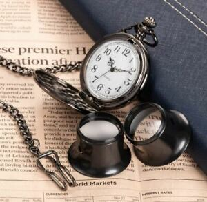 10 X Magnifying Glass Watch Jeweler Single Eye Loupe Watchmaker Tool 2-piece Set