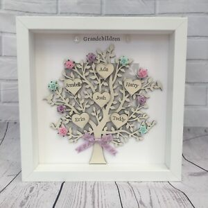 Personalised Family Tree Mothers Day Grandparents Framed Gift Birthday