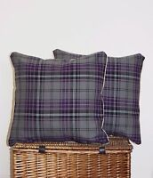 "HEATHER PURPLE GREY TARTAN CUSHION COVERS 18"" PLUM COUNTRY BALMORAL SHABBY CHIC~"