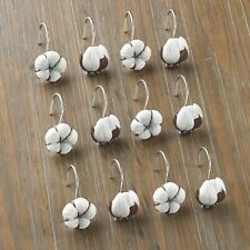 Cotton Boll Shower Curtain Hooks with Rustic, Floral Design - Set of 12 Shower