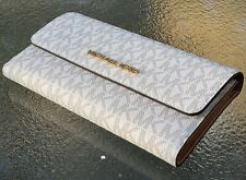 NWT Michael Kors Jet Set Travel  Carryall Trifold Wallet Vanilla Signature Large