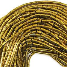 "3x5mm gold plated hematite tube beads 16"" strand"