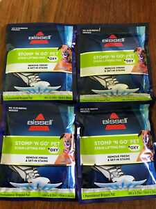 Bissell Stomp N Go (4) Pet Stain Lifting Plus Oxy Premoistened Wrapped Pad