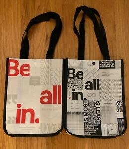 """Lululemon Shopping Bags Be All In White w/ Red & Black Lot of 2 12"""" X 9"""" X 4.5"""""""