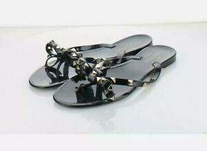 Valentino Garavani Women Black Rockstud Jelly PVC Thong Sandals Size36/37