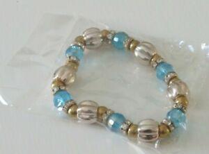 Gold tone beads simulated blue rhinestone Stretch Bracelet