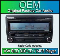 VW RCD 310 CD MP3 Lettore, Golf MK6 Autoradio Unità Principale Con Codice Radio